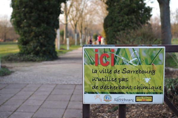 Panneau indiquant que la ville n'utilise pas de désherbant chimique à l'étang Lévèque
